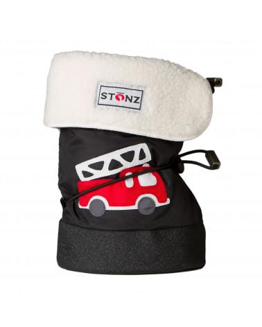 DETSKÉ OUTDOOR CAPAČKY - Fire Truck Black Baby Booties Stonz®