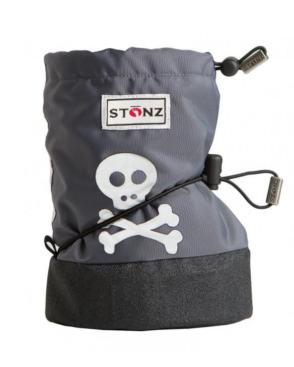 DETSKÉ OUTDOOR CAPAČKY - Skull&Crossbones Grey Baby Booties Stonz®