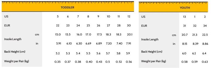Shoreline sneakers sizing chart
